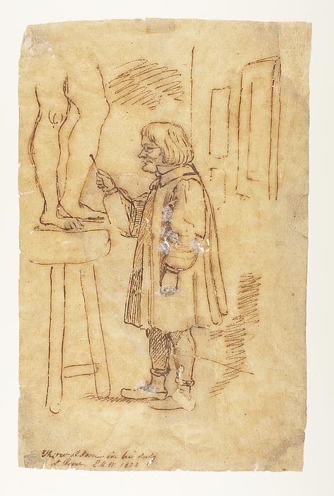 Karrikatur af Thorvaldsen i atelieret