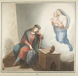 Johannes Riepenhausen: Rafael ser Maria med barnet i drømme, 1821 (Copyright tilhører Thorvaldsens Museum)