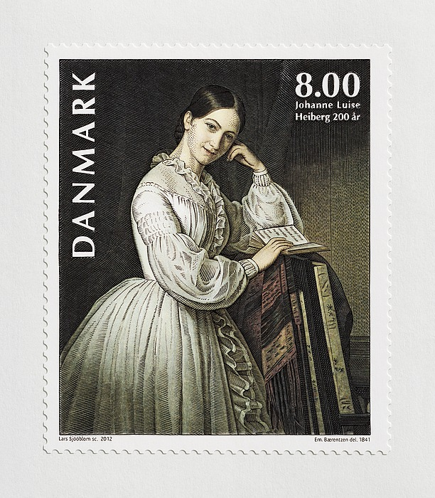 Ark med 15 danske frimærker med portræt af Johanne Luise Heiberg