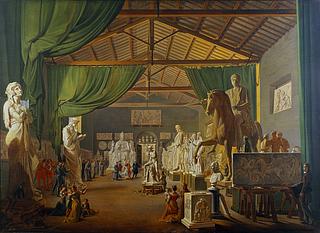 Ditlev Martens, Pave Leo 12. aflægger besøg i Thorvaldsens værksteder ved Piazza Barberini, 18. oktober 1826, Statens Museum for Kunst