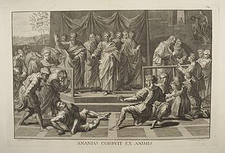 Louis Sommerau efter Rafael: Ananias død (Copyright tilhører Thorvaldsens Museum)