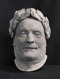 Thorvaldsens dødsmaske med laurbærkrans