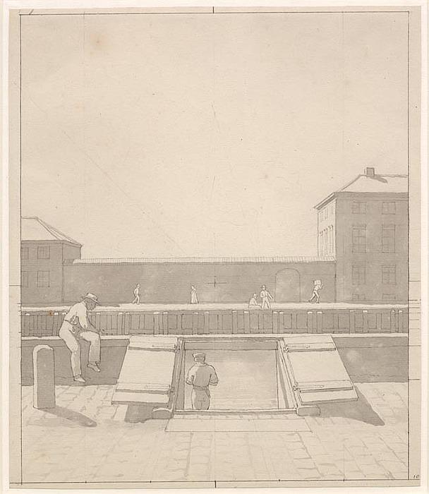 C.W. Eckersberg, Idealprospekt af Charlottenborg og Botanisk Haves gartnerbolig, set fra Nyhavns nordside, 1845, SMK