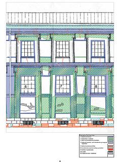Grafisk dokumentation af skader. Fag 6 til 8 på facaden mod kanalen.