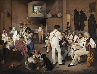 Danske kunstnere i osteriet La Gensola i Rom, 1837, Thorvaldsens Museum, B 199