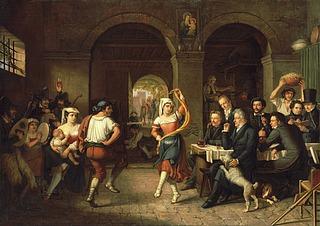 Dietrich Wilhelm Lindau: Saltarello-dans i et romersk osteri ved afskedsfesten for J.M. Thiele og H.C. Holten, 1827