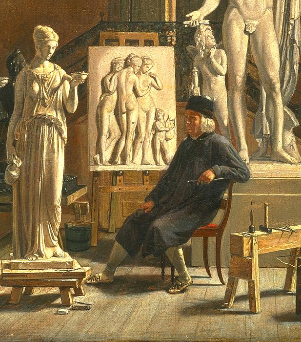 Thorvaldsen i sit atelier på Charlottenborg