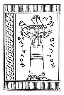 Nyx, rekonstrueret i Wilhelm von Massow, Die Kypseloslade, Athenische Mittheilungen, 41, 1916, gengivet efter H. von Einem, 1958