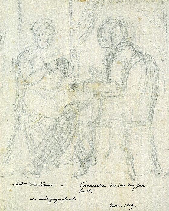 Launitz: Thorvaldsen og Julie v. Krause (detalje)