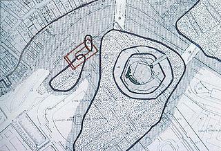 Middelalderbyen med Thorvaldsens Museum indtegnet