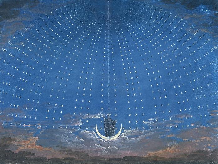 Karl Friedrich Schinkel: Udkast til dekorationen til Nattens Dronnings Palads, 1816