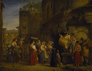 Theodor Leopold Weller: Gaukler auf der Piazza Montanara in Rom, 1829 - Copyright gehört Thorvaldens Museum