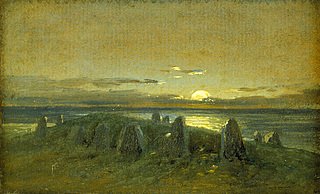 A Prehistoric Barrow by Moonlight, Nobben on the Island of Rügen