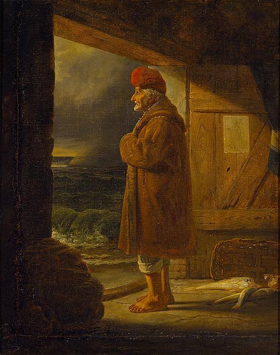 Gammel napolitansk fisker i døren til sin hytte
