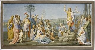 Giovanni Sanguinetti: Johannes Døberens prædiken, 1820'erne eller 1830erne - Copyright tilhører Thorvaldsens Museum
