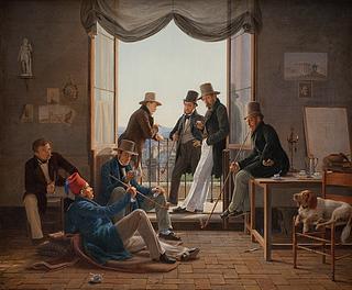 Constantin Hansen: Et selskab af danske kunstnere i Rom, 1837, Statens Museum for Kunst, KMS3236