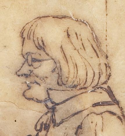 Karikatur af Thorvaldsen i atelieret