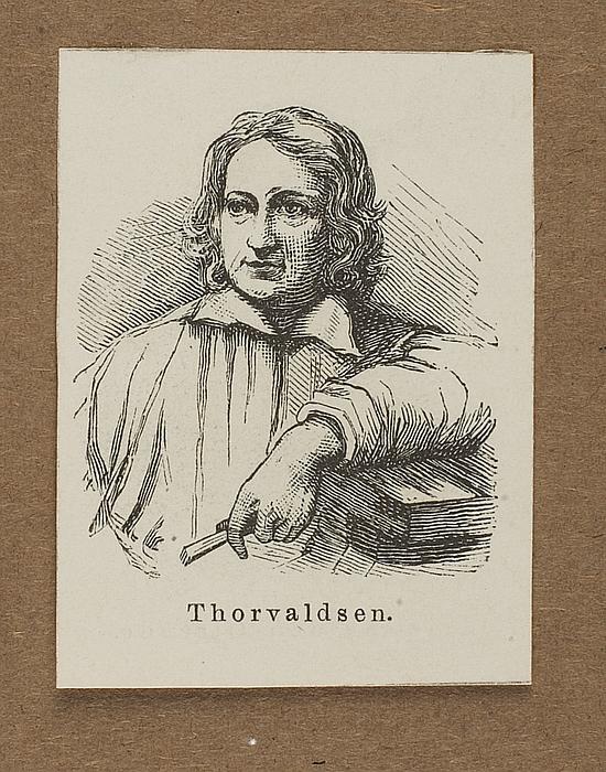 Portræt af Thorvaldsen lænet til en kavalet