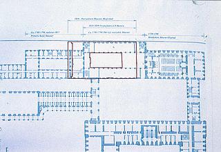 Udsnit af Lauritz de Thurahs plan af det første Christianborg