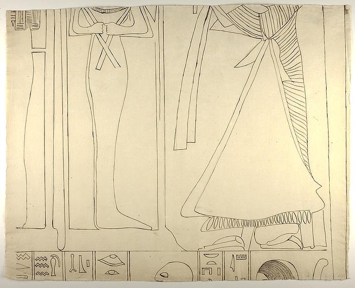 Motiv med figurer og hieroglyffer, midterste højre parti