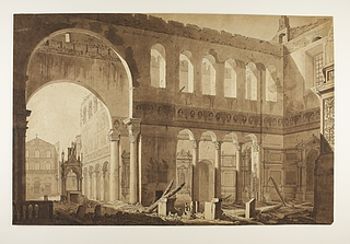 Det indre af San Paolo Fuori le Mura umiddelbart efter branden 1823