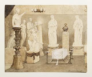 Georg Emil Libert: Thorvaldsen på lit de parade i Kunstakademiets Antiksal, 29.03.1844
