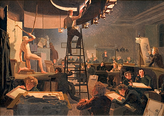Wilhelm Bendz, The Life Class at the Royal Academy of Fine Arts, 1826, Statens Museum for Kunst, inv. no. KMS54