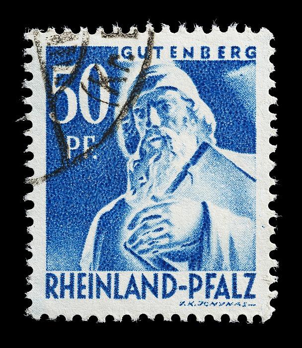 Frimærke udgivet i den franske besættelseszone, Rheinland-Pfalz med Thorvaldsens statue af Johann Gutenberg