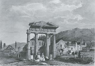 Théodose-Achille-Louis Vicomte du Moncel: Den vestlige indgang til Den romerske Agora (»Athena Archegetisporten«), 1845 - Copyright tilhører Benaki Museet, Athen