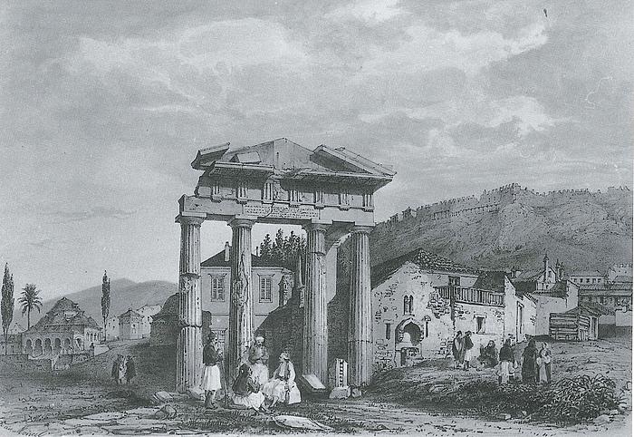 Théodose-Achille-Louis Vicomte du Moncel: Den vestlige indgang til Den romerske Agora (»Athena Archegetisporten«), 1845