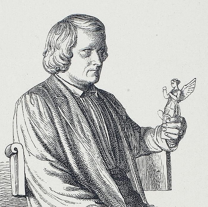 Portræt af Thorvaldsen med Viktoria i hånden