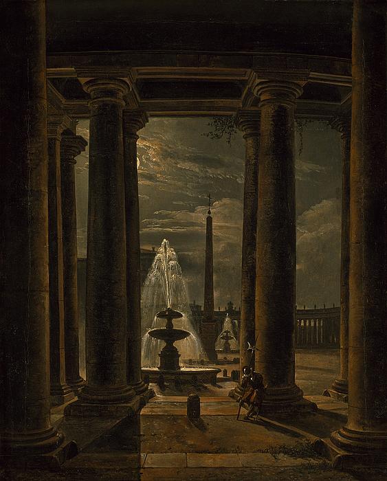 Peterspladsen i Rom i måneskin