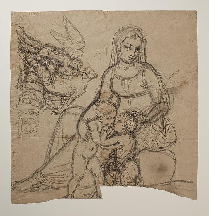 Maria med Jesus og Johannes. Amor klager til Venus over et bistik