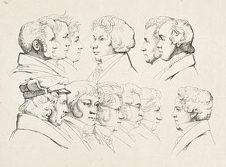 Ernst Meyer: 12 portrætter, sandsynligvis Juleaften 1824, Rom. Den kongelige Kobberstiksamling, inv.nr. KKSgb9278