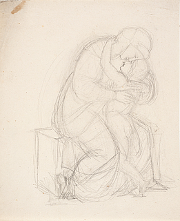 J.L. Lund: Moder og barn, blyant, 205 x 170 mm, inv.nr. KKSgb15195, Kobberstiksamlingen
