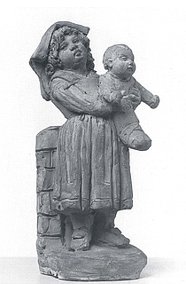 Lauritz Prior: Lille romersk pige med bambino, 1866, brændtler, 25 cm, NCG, inv.nr. 1151.