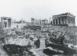 Rhomaïdes Brødrene: Akropolis midtplateau med Erechtheion i nord og Parthenon i syd, ca. 1890