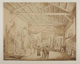 Luigi eller Fabio Ricciardelli: Ludwig 1. af Bayern aflægger besøg i Thorvaldsens værksteder ved Piazza Barberini, 1829 - Copyright tilhører Thorvaldsens Museum