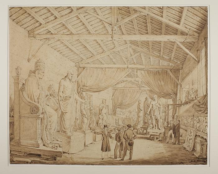 Ludwig 1. af Bayern aflægger besøg i Thorvaldsens værksteder ved Piazza Barberini