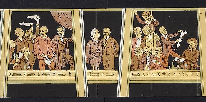 Alfred Schmidt: Parodi på Jørgen Sonnes frise på Thorvaldsens Museum