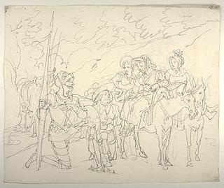 Sancho Panza overbeviser Don Quixote om, at de tre landmandskoner er Dulcinea med følge