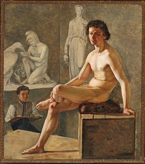 Unknown artist, Young Man Drawing a Nude Model Among Thorvaldsen's Artworks at The Royal Danish Academy of Fine Arts, after 1825, unknown location, photo Bruun Rasmussen
