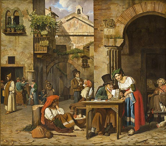 En romersk gadeskriver læser et brev op for en ung pige