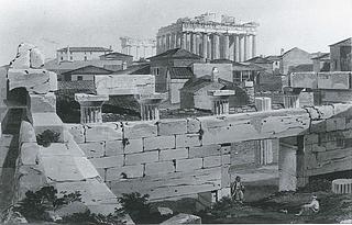 Edward Dodwell: Akropolis plateauet med Parthenon og nyere tids bebyggelse set fra Propylæerne, Athen, 1821