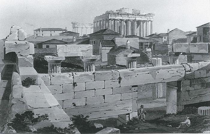 Edward Dodwell: Akropolis plateauet med Parthenon og nyere tids bebyggelse set fra Propylceerne, Athen, 1821