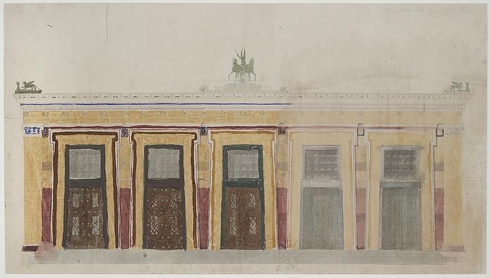 Michael Gottlieb Bindesbøll: Opstalt af Thorvaldsens Museums sydvestlige facade, formodentlig 1839
