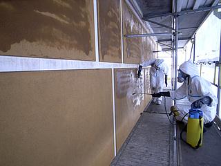 Konsolidering af facadepuds med TEOS.