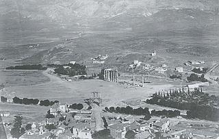Petros Moraïtes: Udsigt fra Akropolis over Olympieion, 1860erne