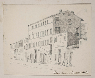 Casa Buti i Via Sistina, blyant. University College, London, Ms Add. 77