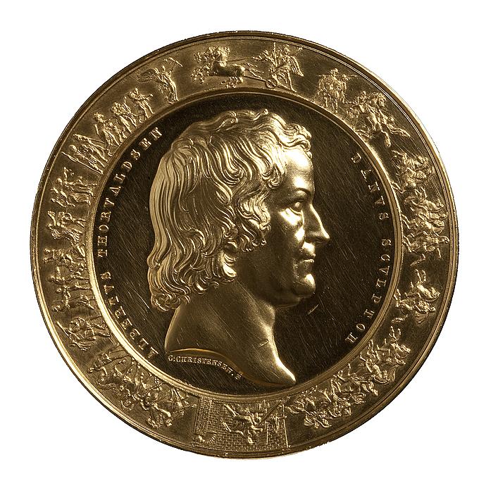 Thorvaldsen-medaljen forside: Portræt af Thorvaldsen